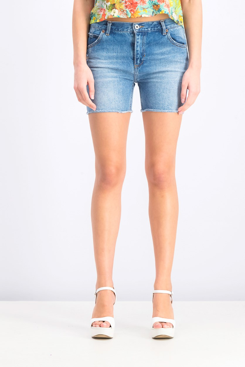Women's Frayed Hem Denim Short, Wash Blue