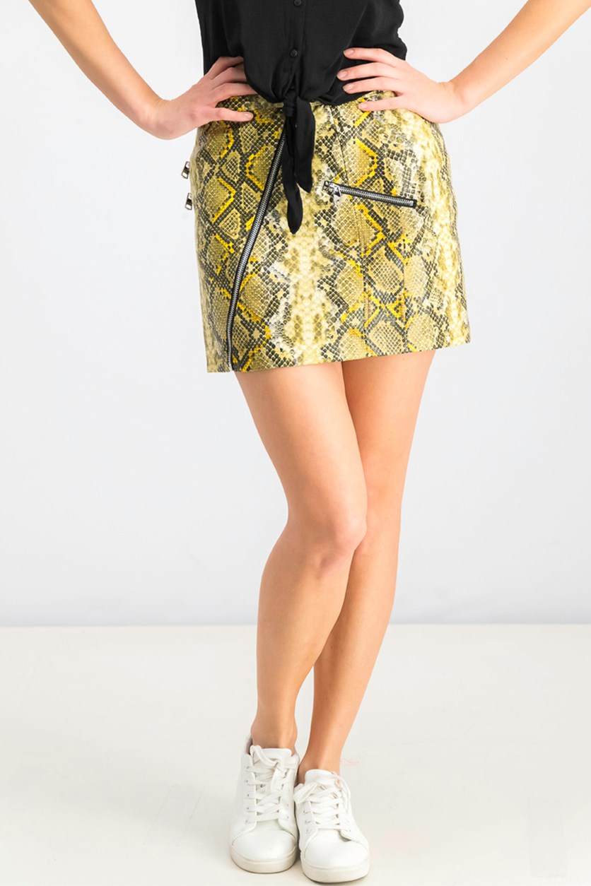 Women's Snakeskin Mini Skirt, Yellow/Black