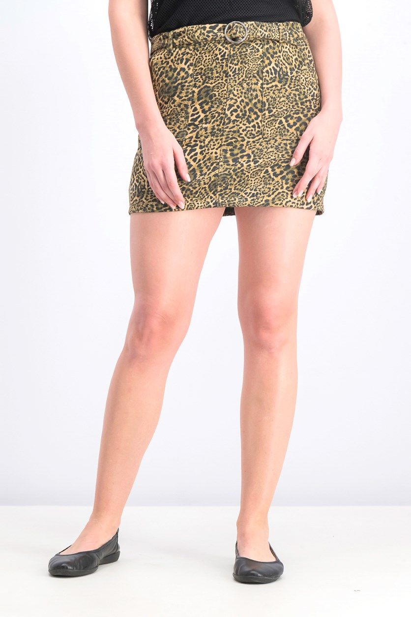 Women's Leopard Print Skirt, Black Combo