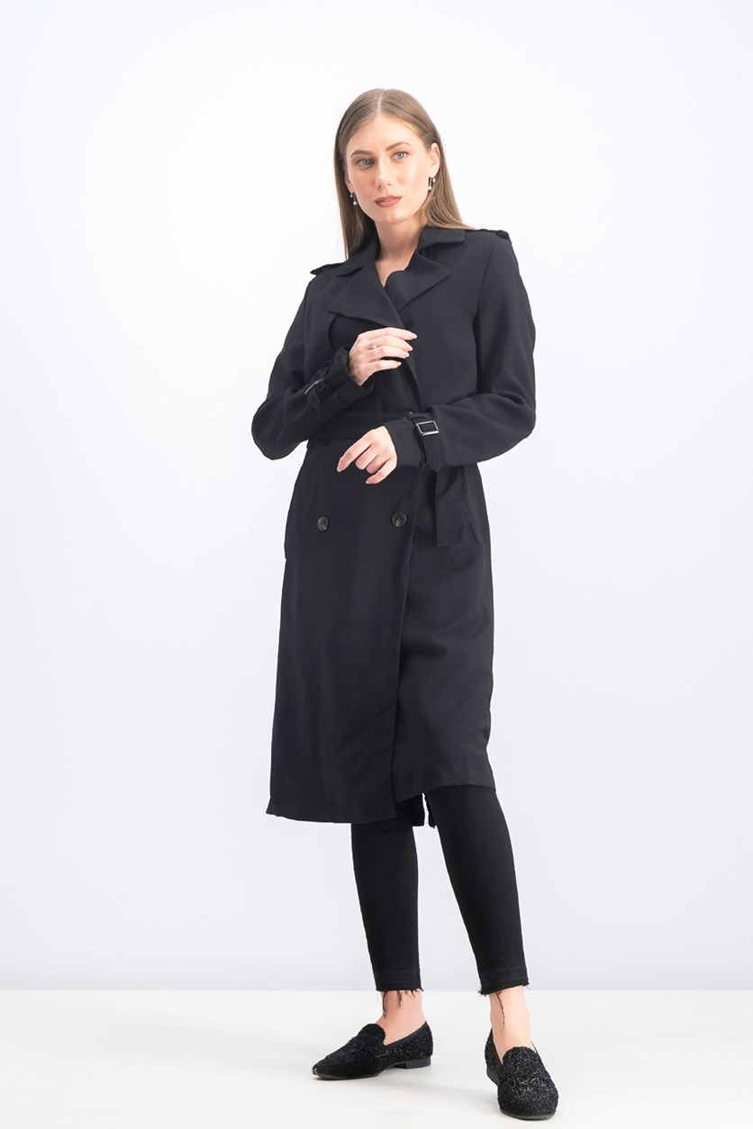 Women's Belted Trench Coat, Black