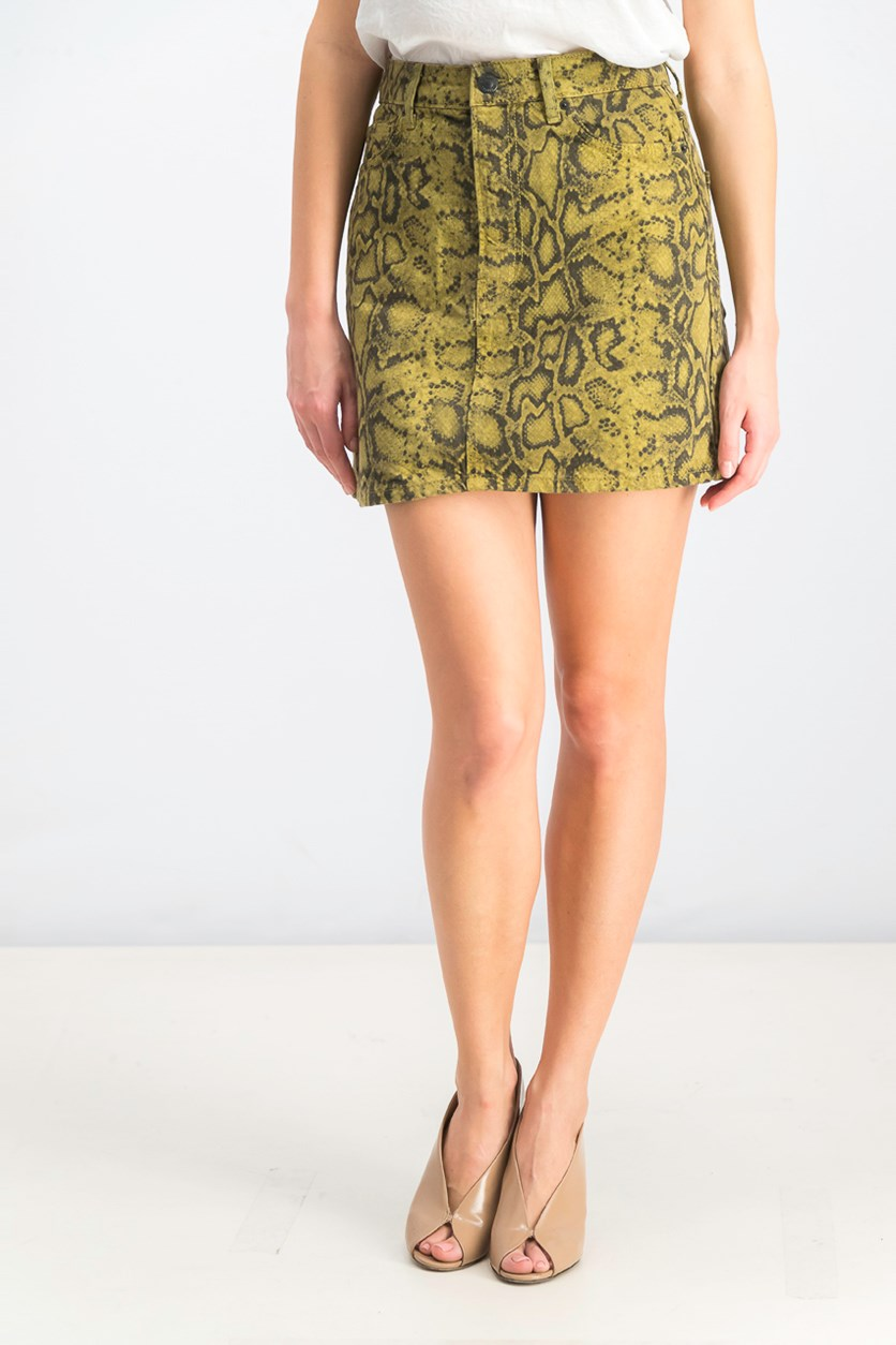 Women's Snake Skin Print Denim Skirt, Green/Black