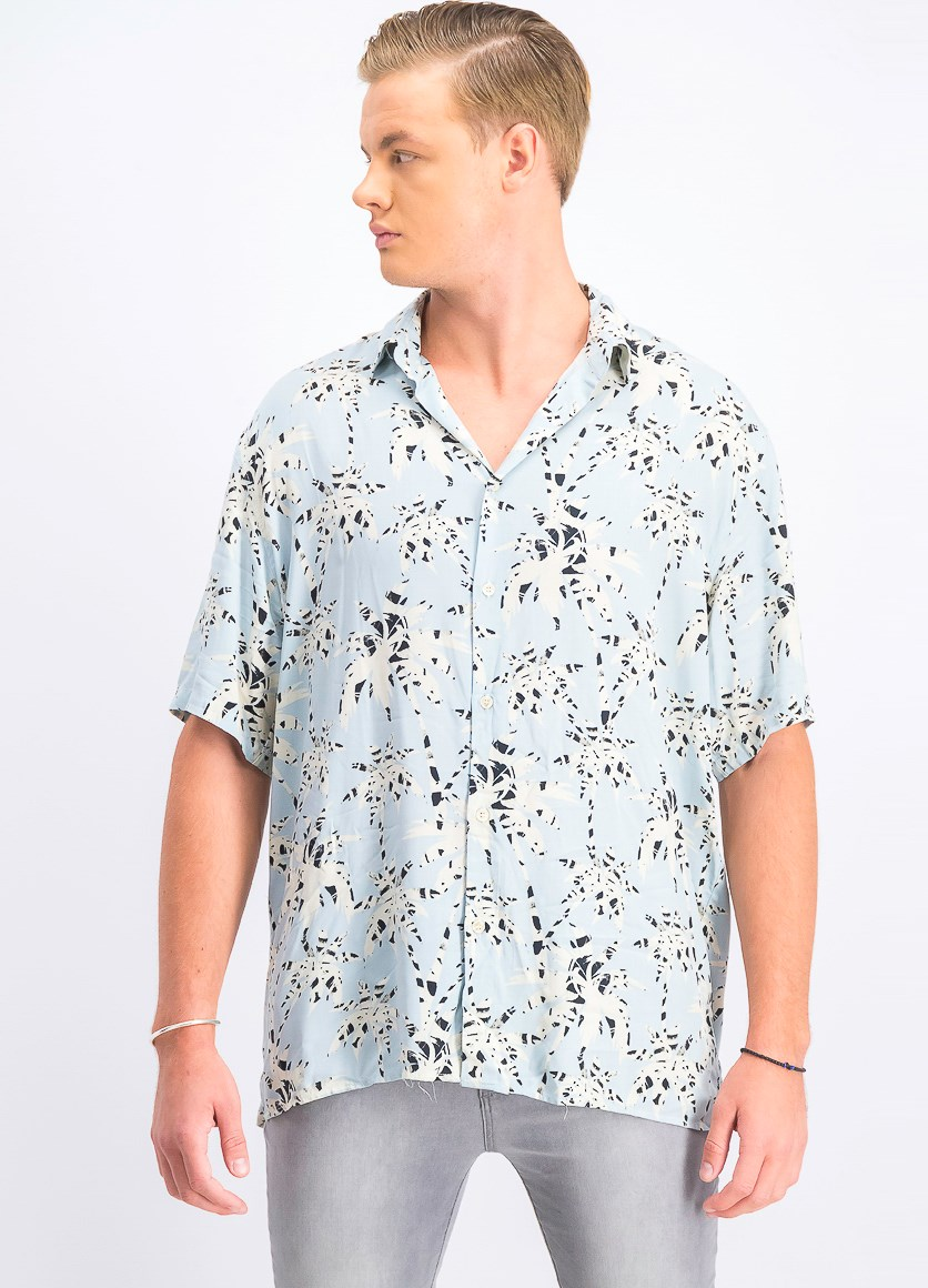 Men's Tropical Print Shirt, Light Blue Combo