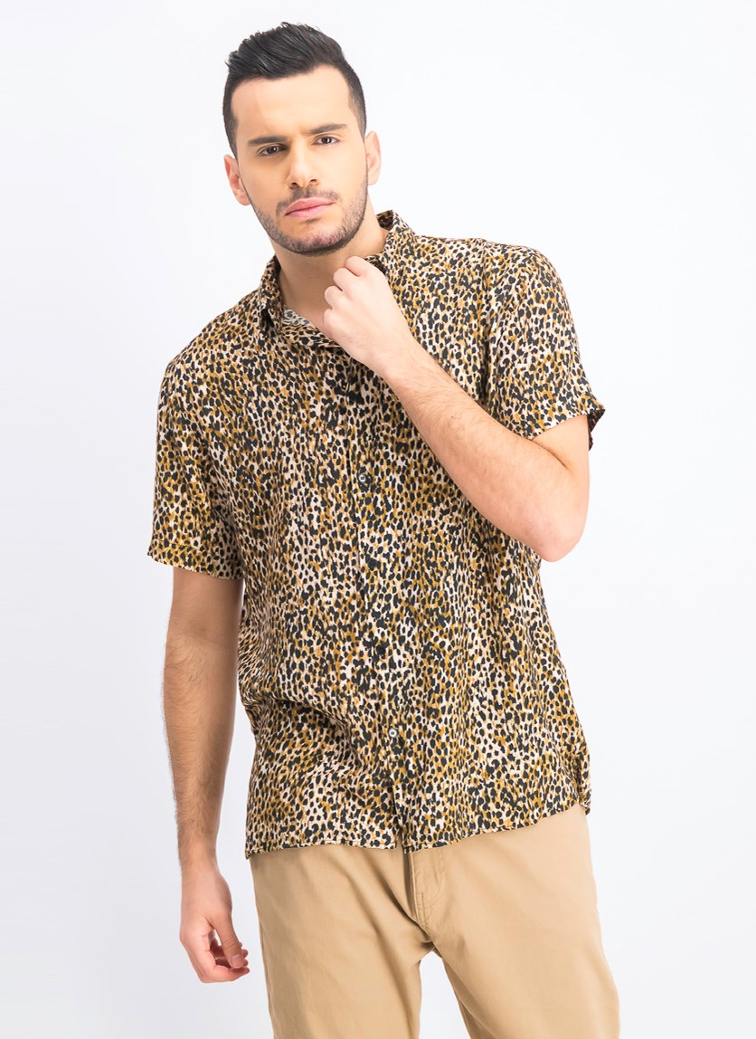 Men's Leopard Print Shirt, Brown Combo