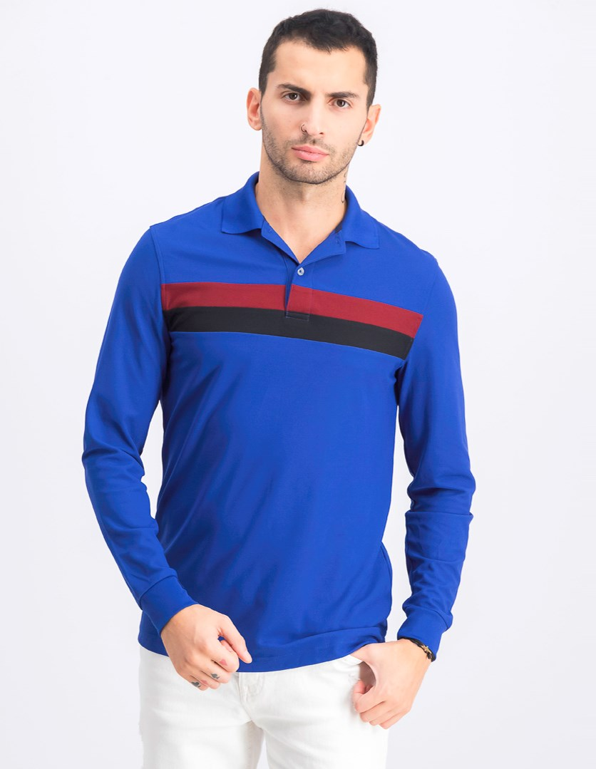 Mens Striped Rugby Polo Shirt, New Cerulean
