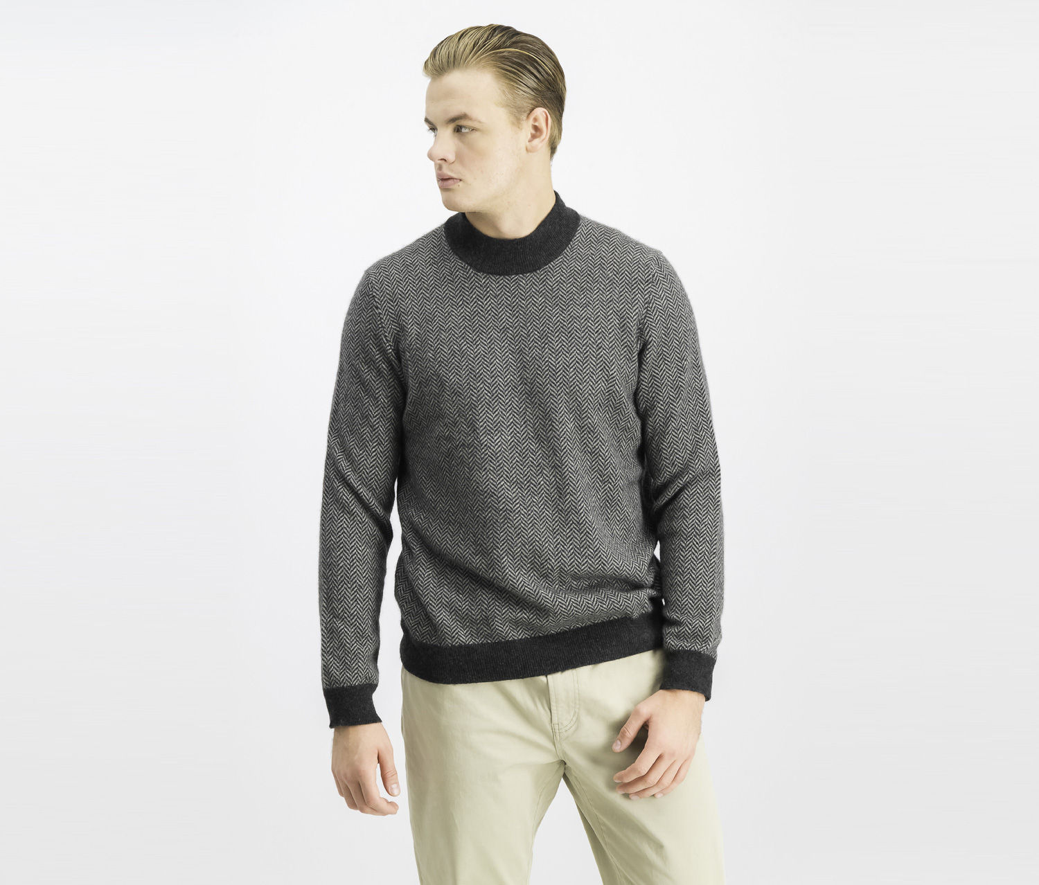 Men's Cashmere Herringbone Sweater, Charcoal Heather