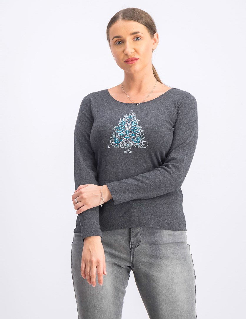 Women's Petite Cotton Embellished Christmas Tree Top, Charcoal Heather