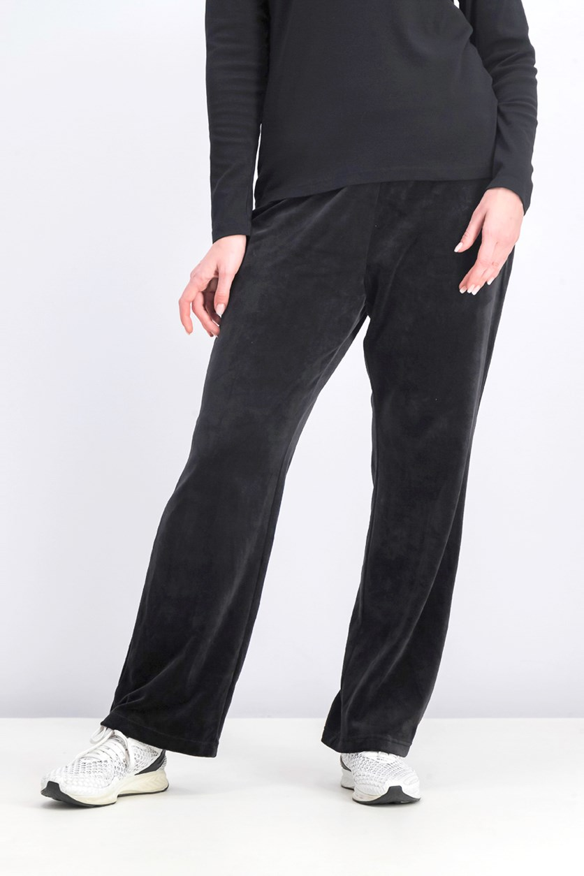 Women's Velour Pull-on Pants, Black
