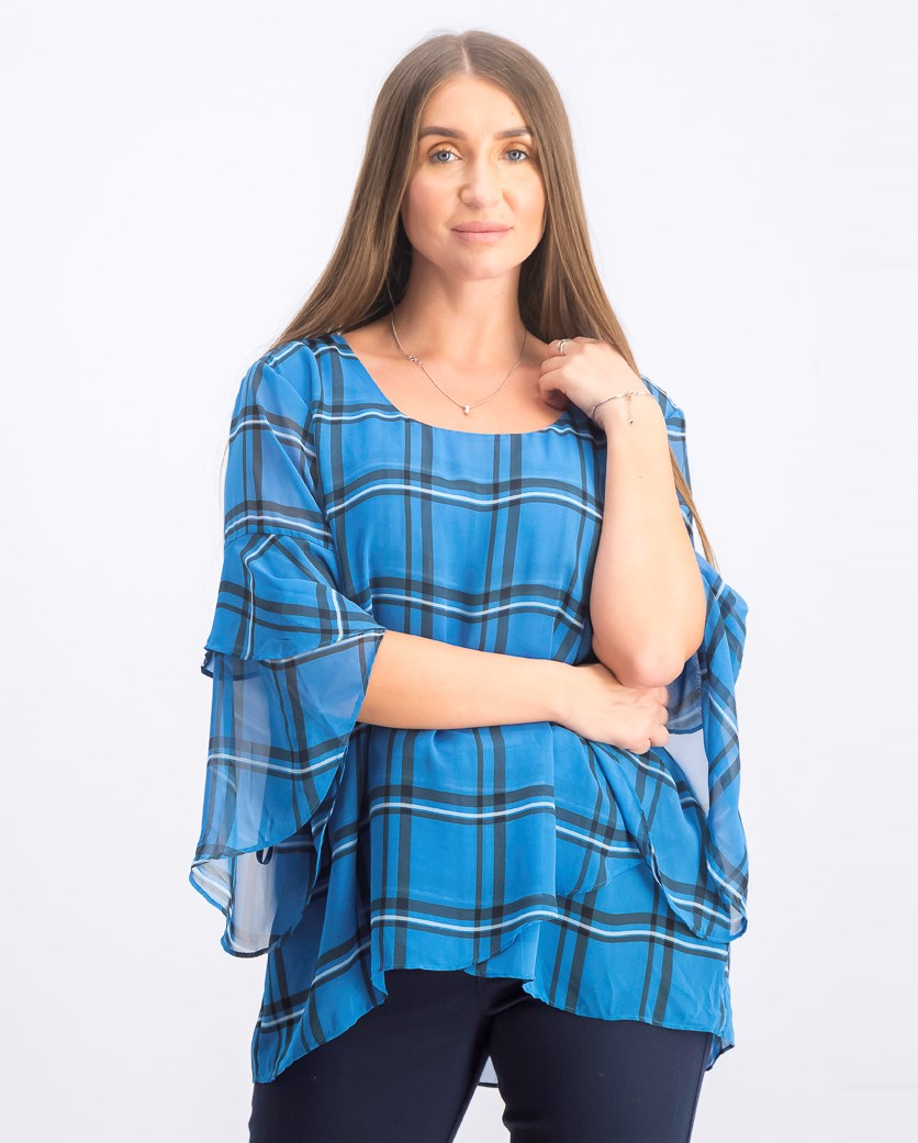 Women's Plaid Crossover Top, Plaid Cerulea