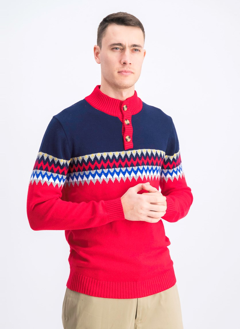 Men's Mock Colorblock Sweater, Red/Navy