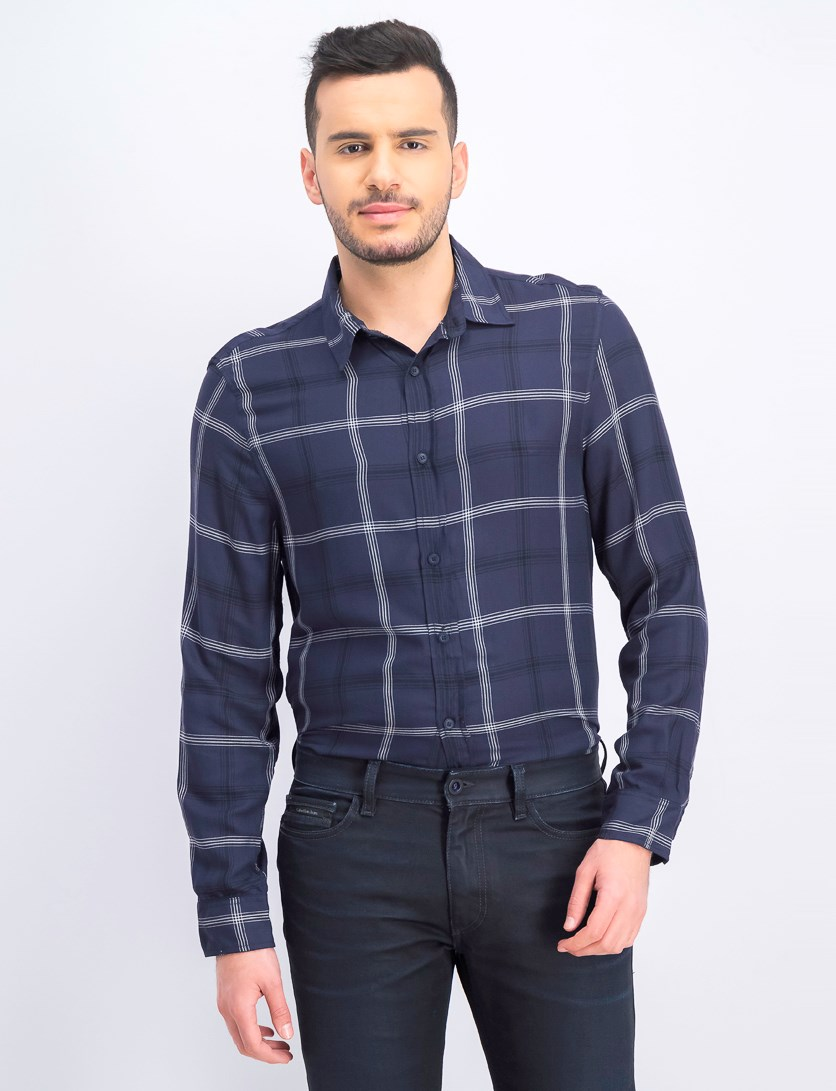 Men's Check Shirt, Navy