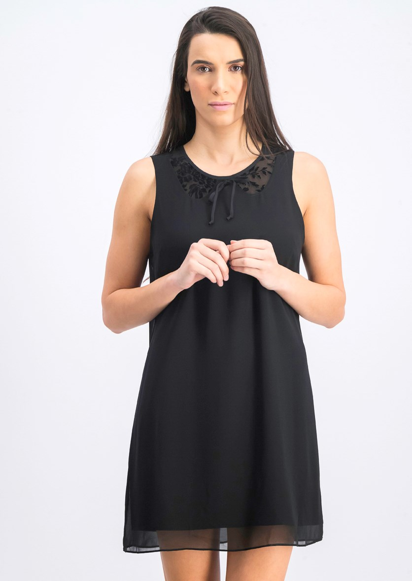 Women's Sleeveless Chiffon Dress, Black