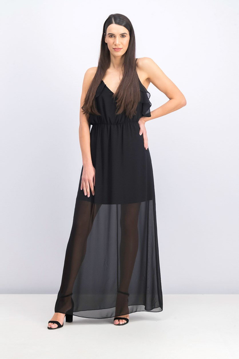 Women's Ruffle Maxi Dress, Black