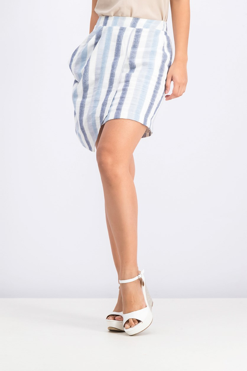 Stripe Asymmetric Mini Skirt, Blue Combo