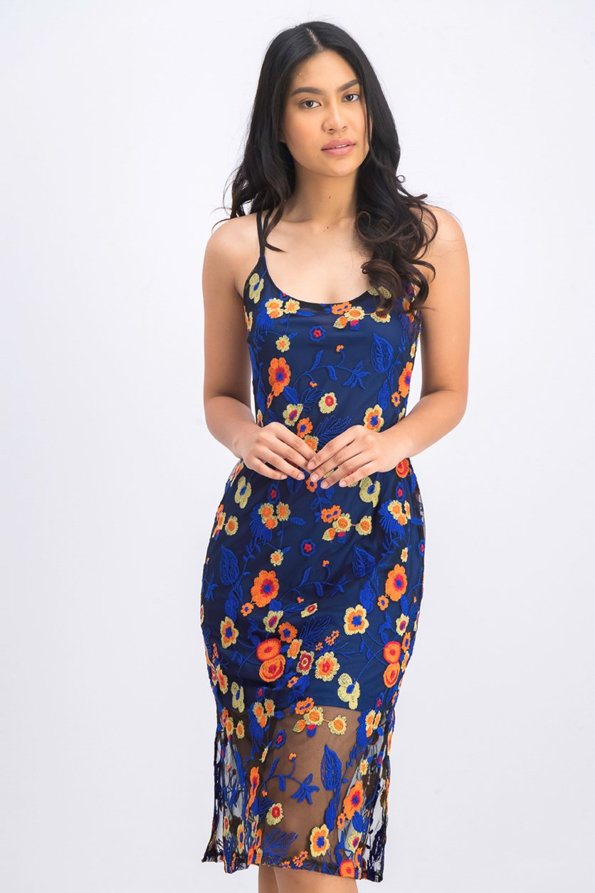 Women's Floral-Embroidered Midi Dress, Ultra Marine