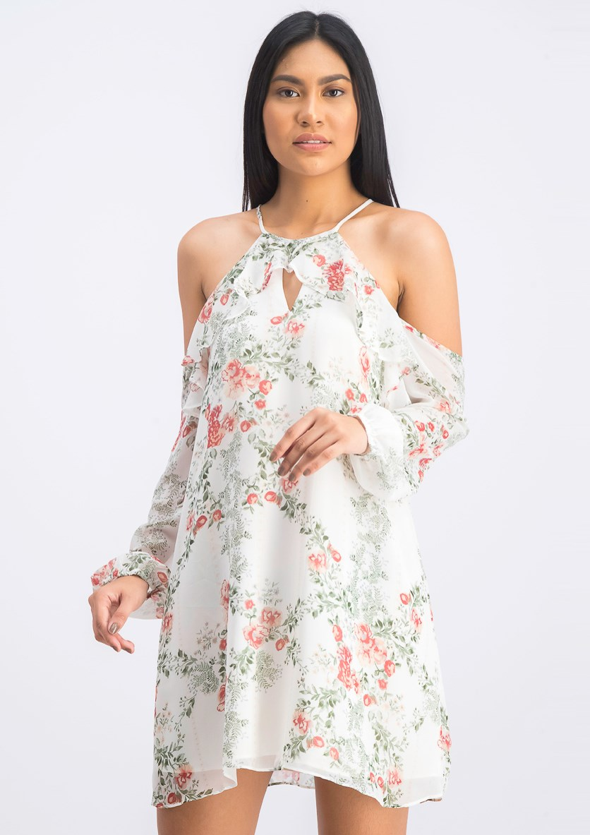 Women's Floral Cold-Shoulder Shift Dress, Whisper White Combo
