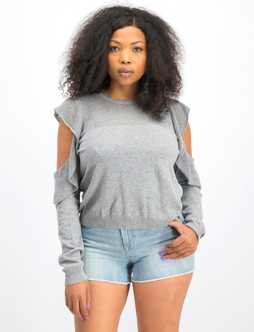 Women's Knit Ruffled Pullover Sweater, Heather Grey