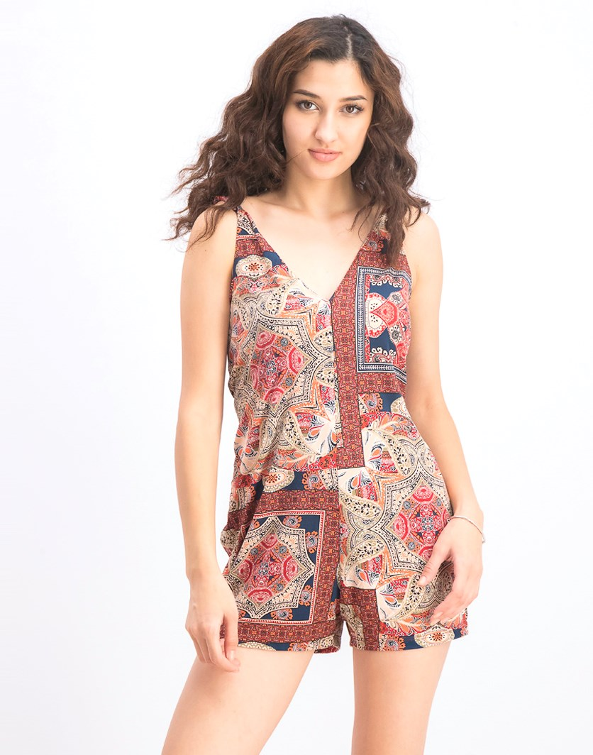 Womens Waist Tie Romper, Orange Spice