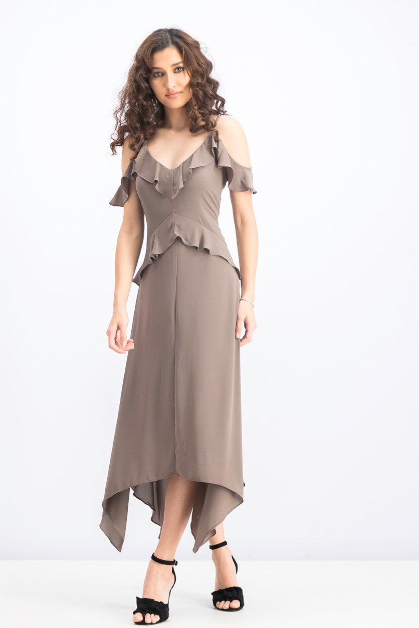 Lissa Asymmetrical Slip Dress, Spanish Moss
