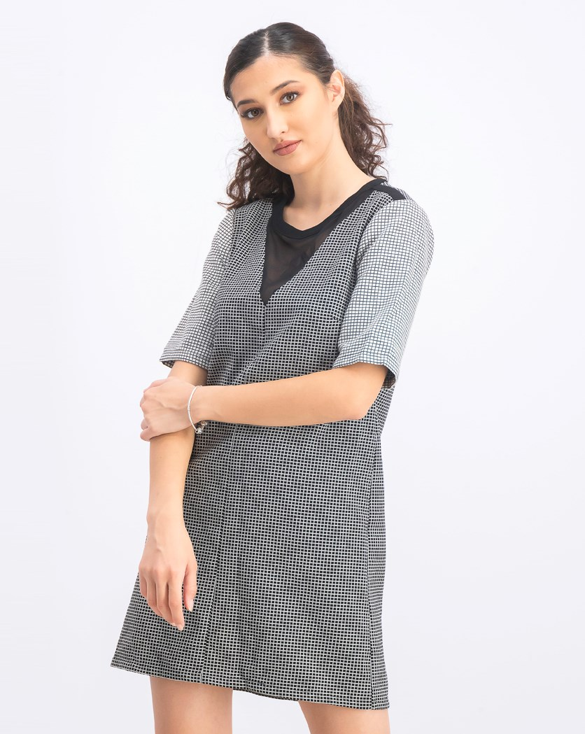 Women's Checked Shift Dress, Black