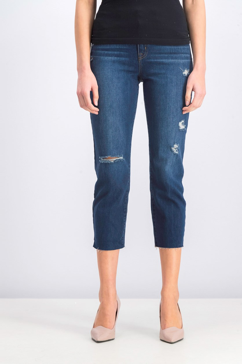 Juniors' Ripped Cropped Jeans, Blue