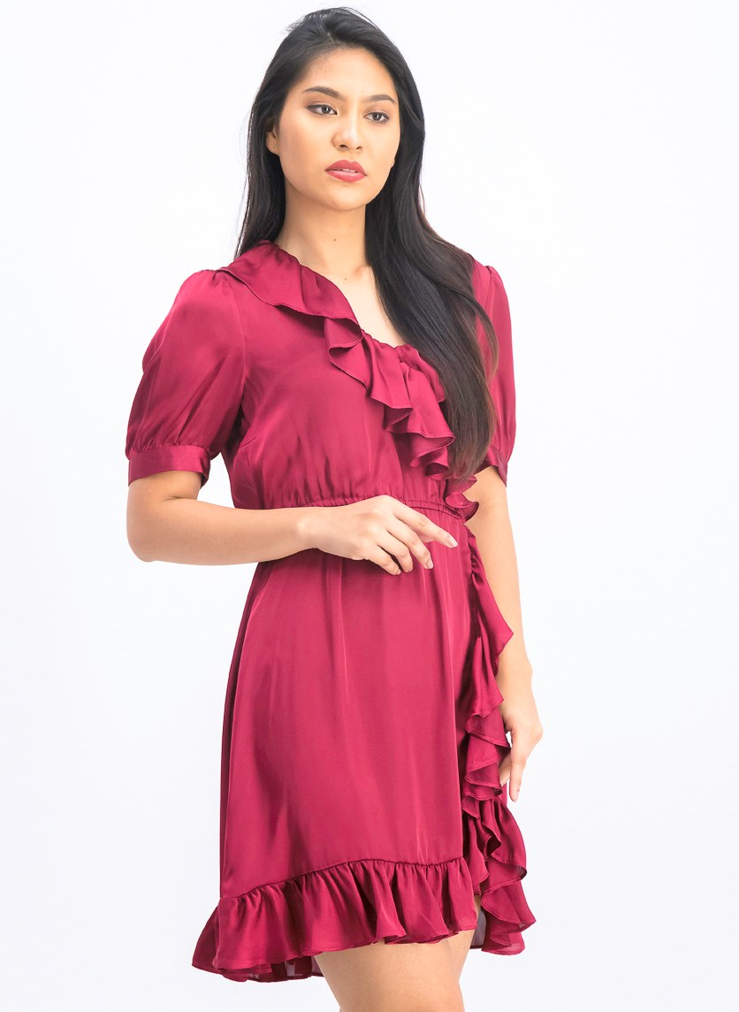 Women's Asymmetric Ruffle Hem Mini Shirtdress, Berry