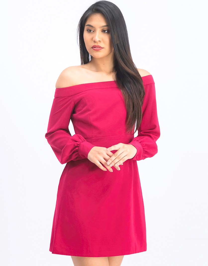 Women's Off the Shoulder Cocktail Dress, Berry