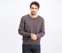 Men's V-Neck Classic Fit Sweater, Dark Brown