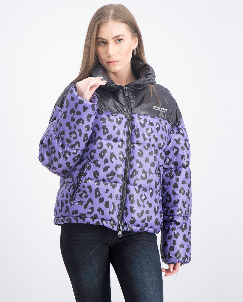 Women's Puffer Jacket, Purple/Black