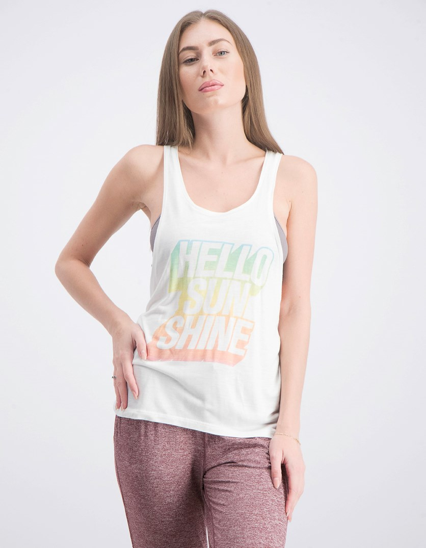 Women Hello Sunshine Print Tee, White