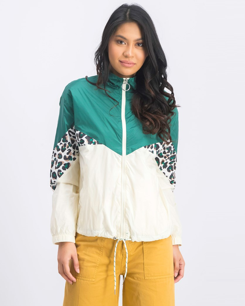 Women's Colorblocked Jacket, Green/Ivory