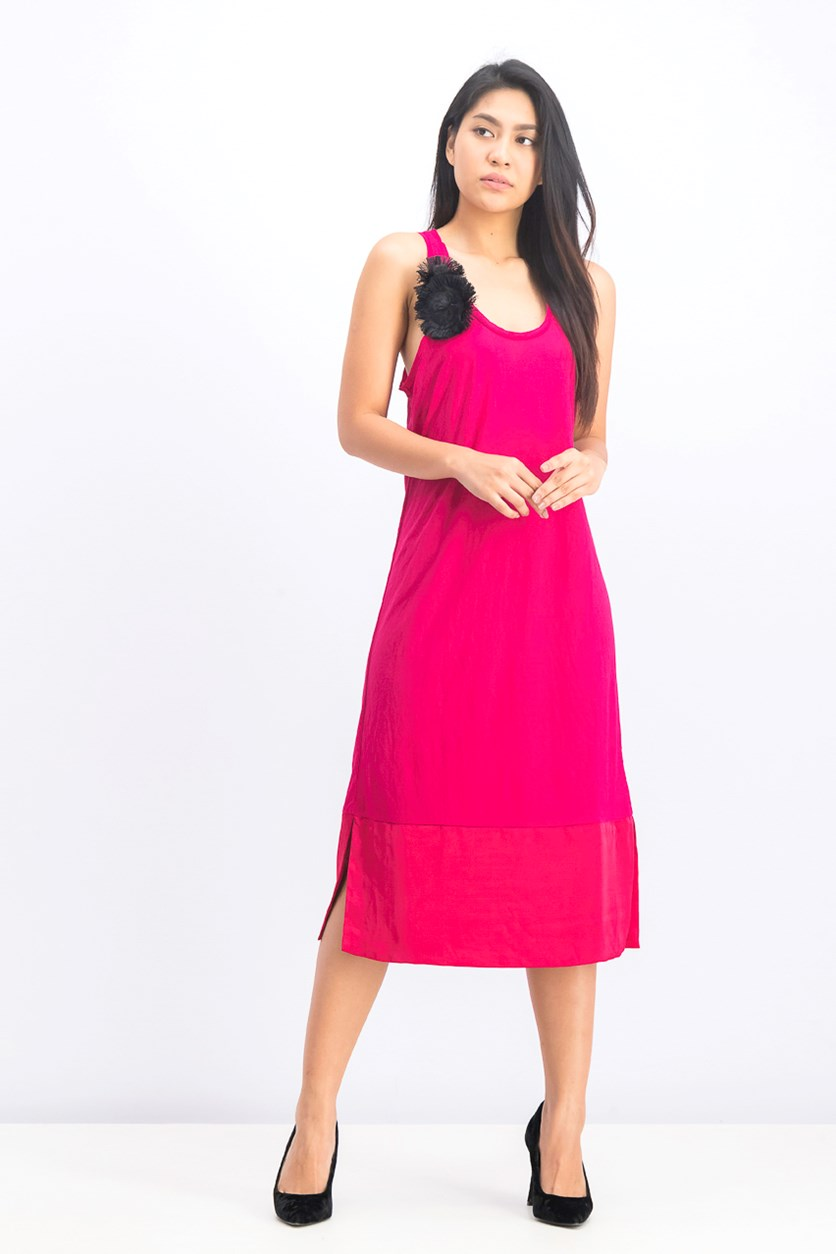 Women's Woven Pleated Cocktail Dress, Dark Pink
