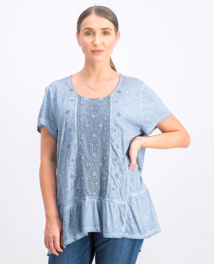 Embroidered Tiered Top, Blue Fog