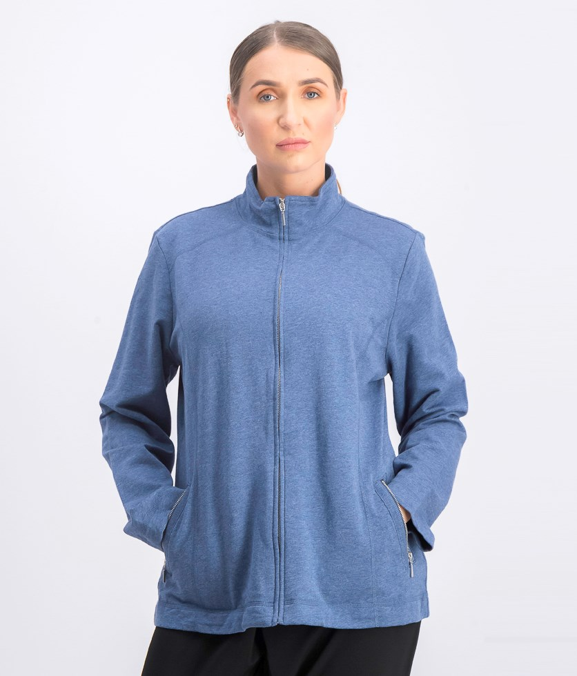Women's Mock Neckline Sweater, Heather Indigo