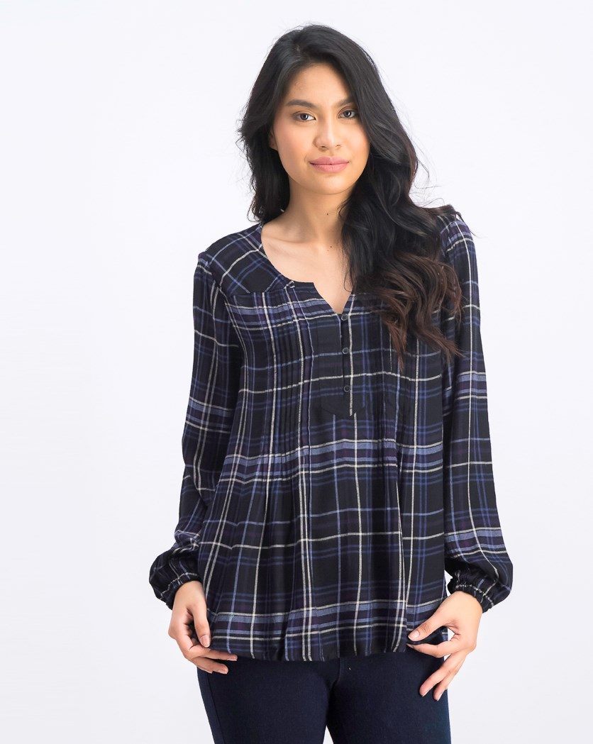Plaid Pintuck Shirt, Black/Purple/Blue