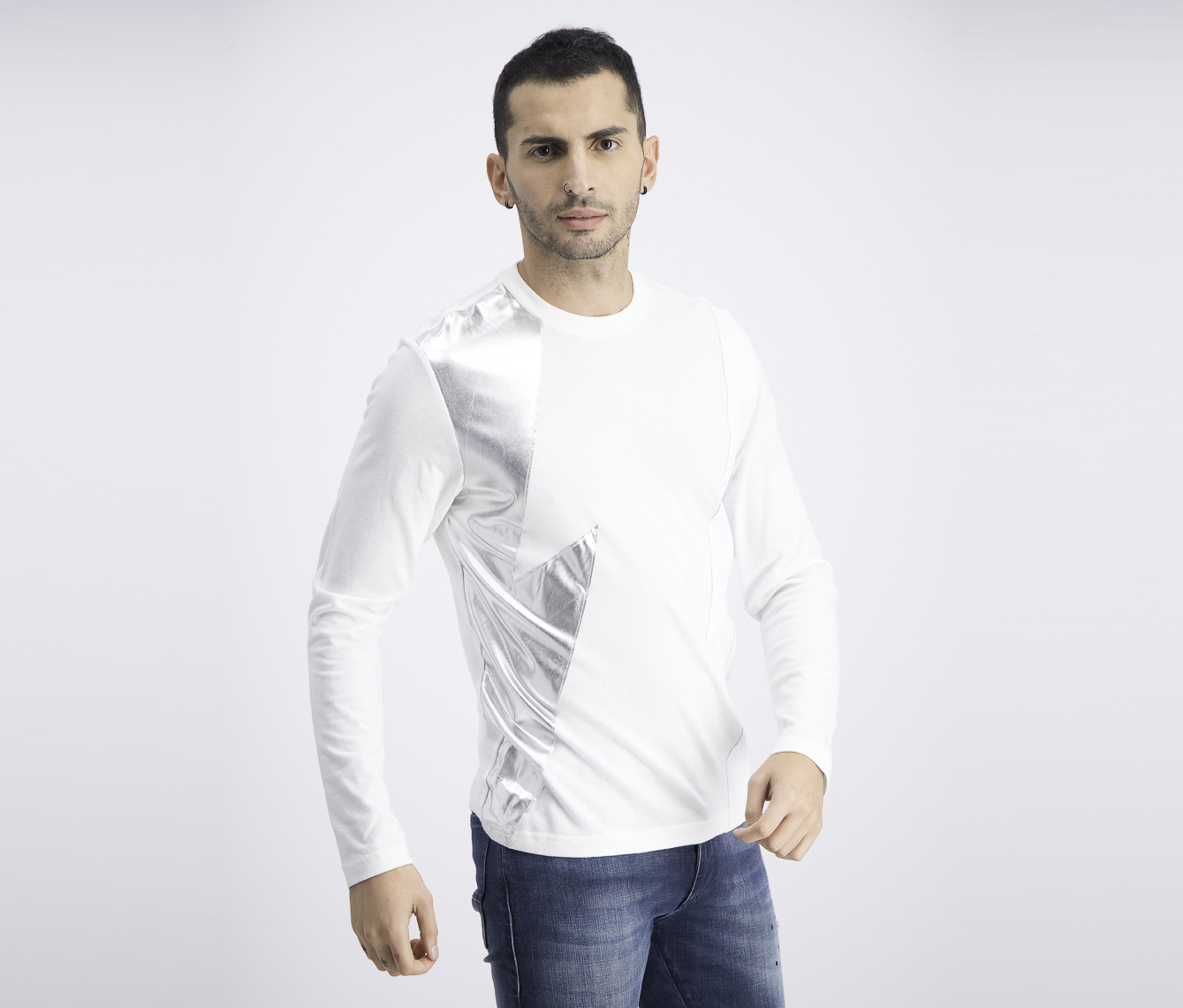 Mens Long-Sleeve Lightning T-Shirt, White