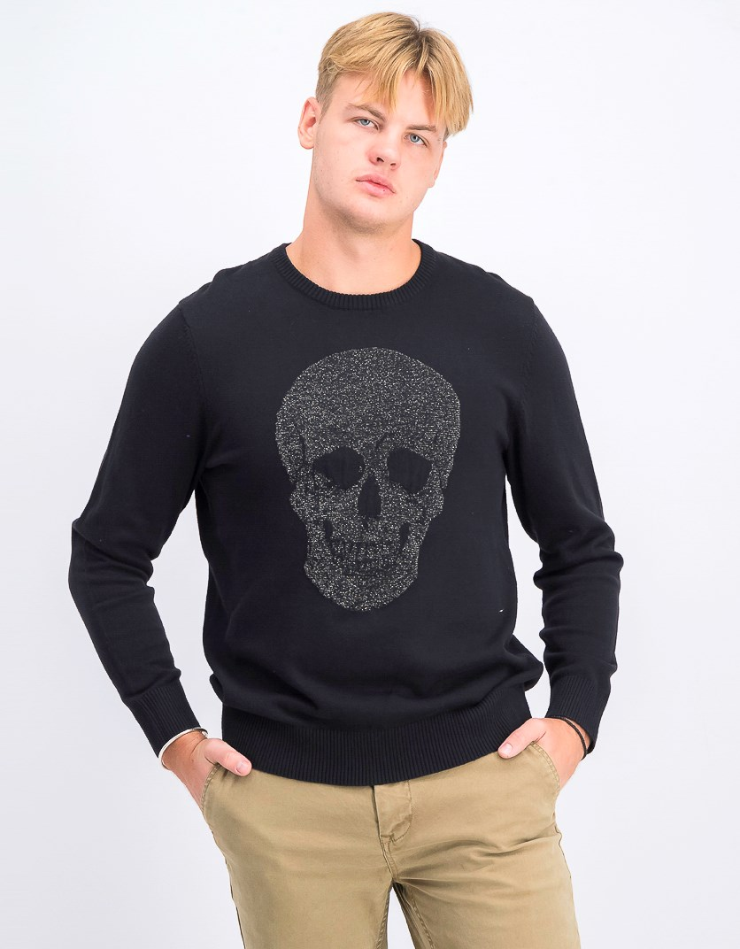 Men's Skull Metallic Sweater, Black