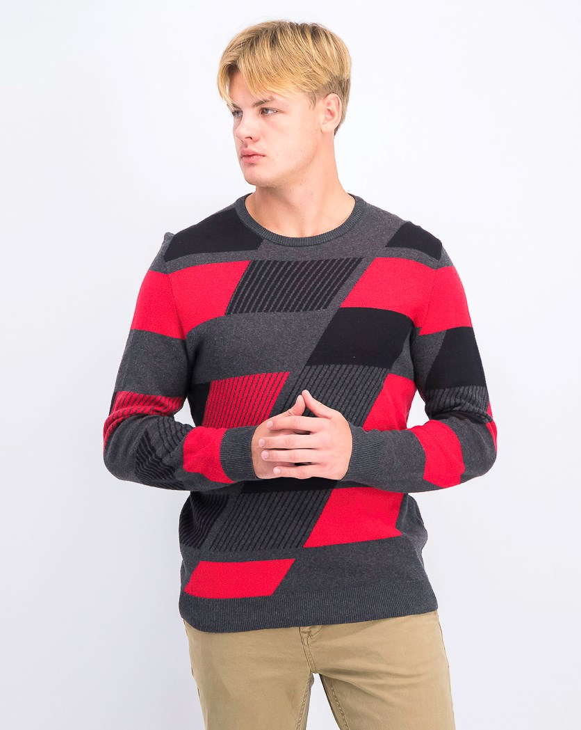 Men's Abstract Colorblocked Sweater, Cherry Candy