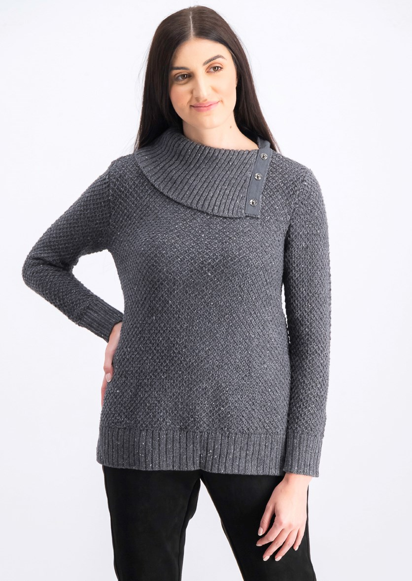 Women's Petite Envelope-Neck Tweed Sweater, Dark Charcoal