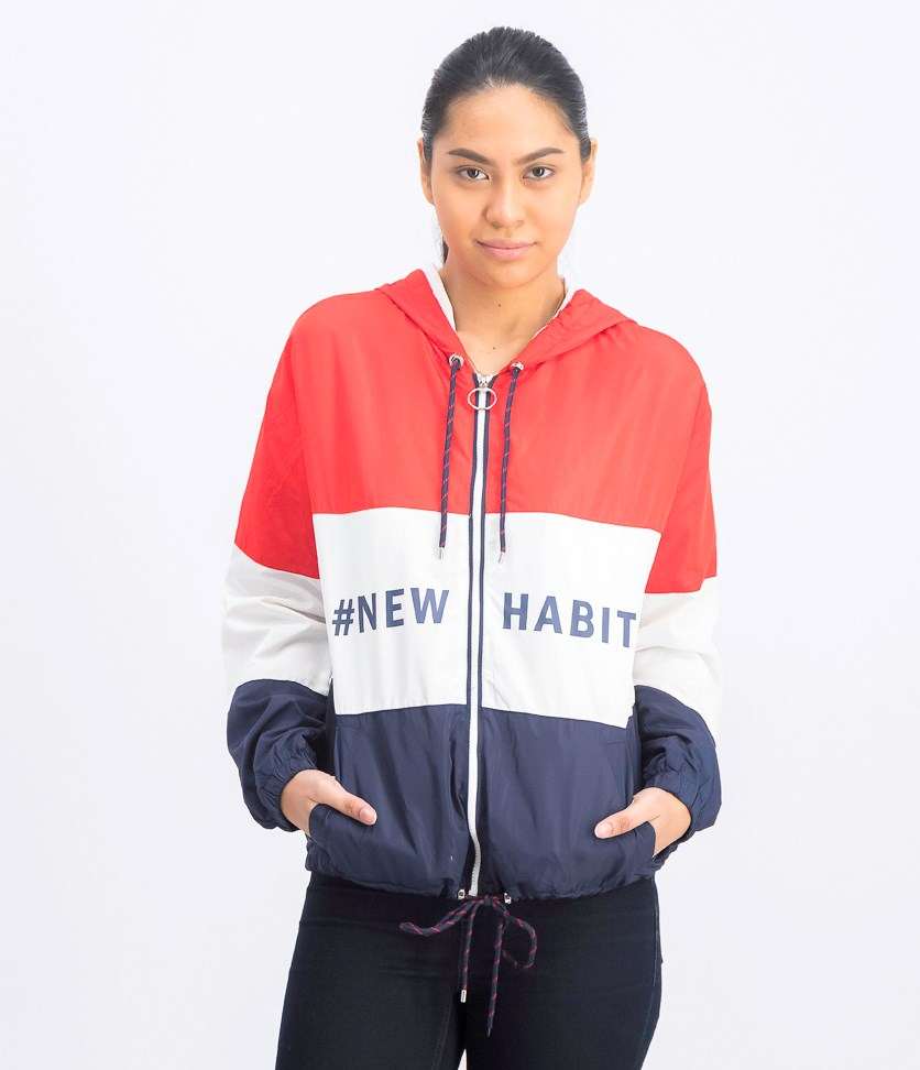 Women's Lightweight Colorblocked Jacket, Red/Navy/White