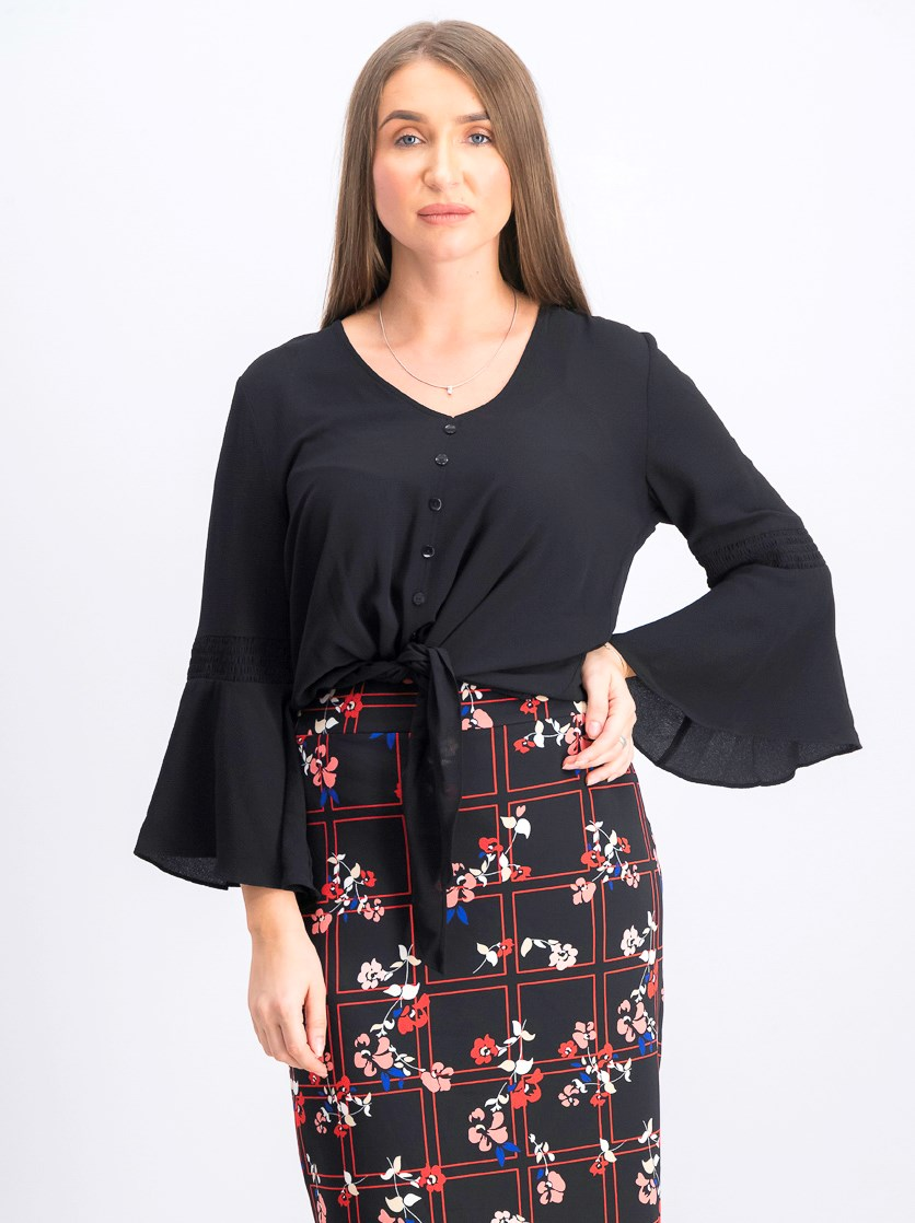 Women's Bell Sleeve Tie Hem Top, Black
