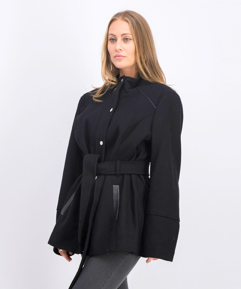 Faux-Leather-Trim Belted Jacket, Black
