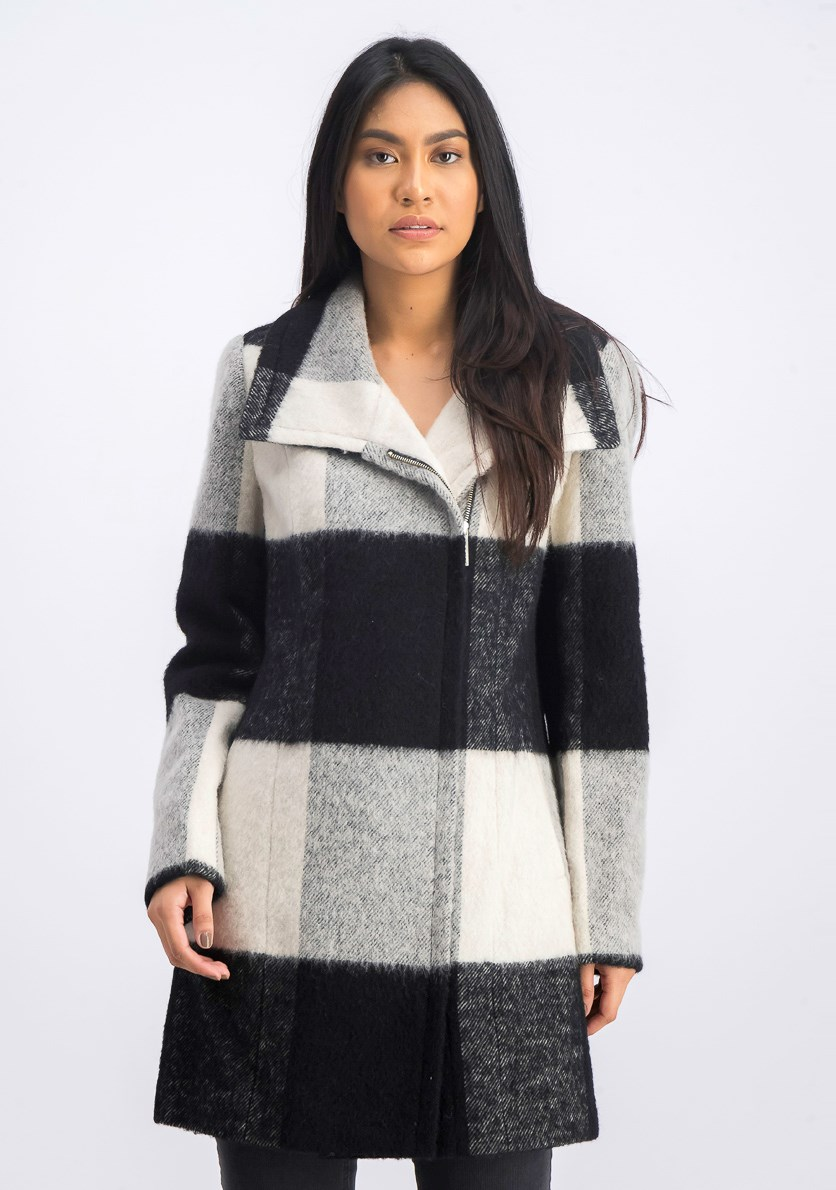 Women's Plaid Walker Coat, Black/White Combo