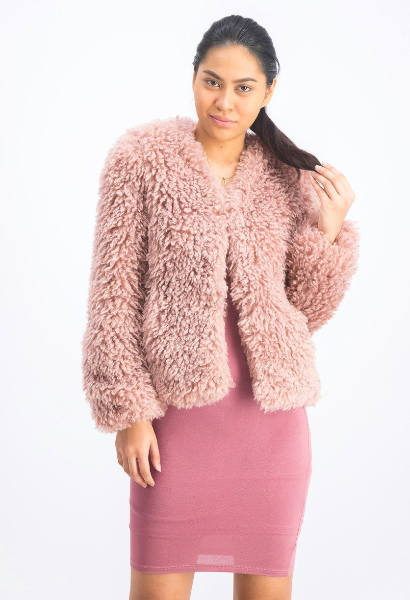 Women's Cropped Lamb Jacket, Blush