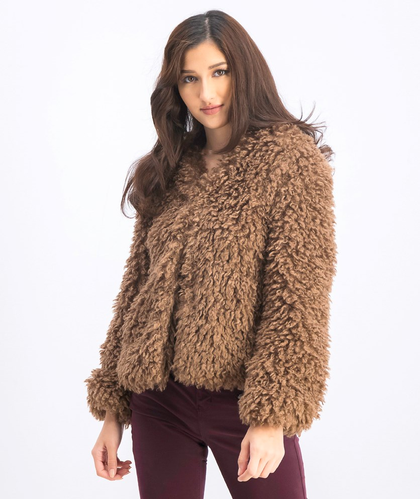 Women's Cropped Lamb Jacket, Brown