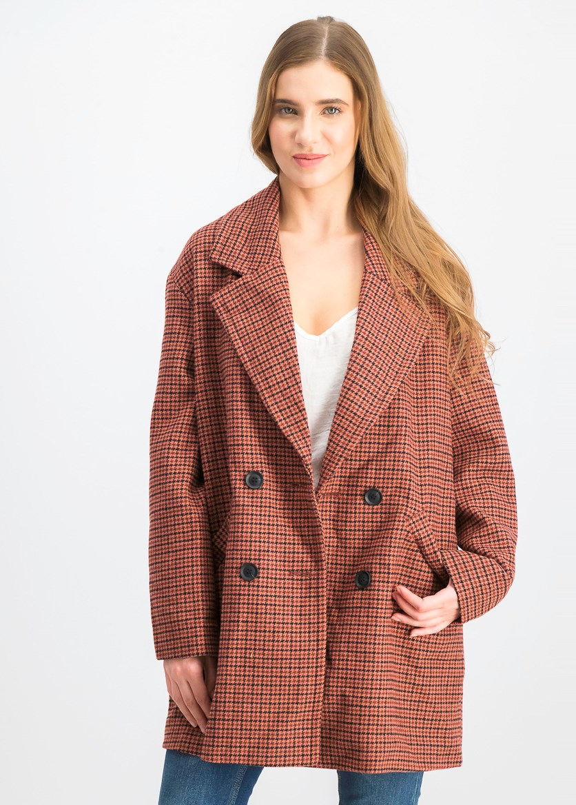Women's Houndstooth Print Coat, Black/Brown Combo