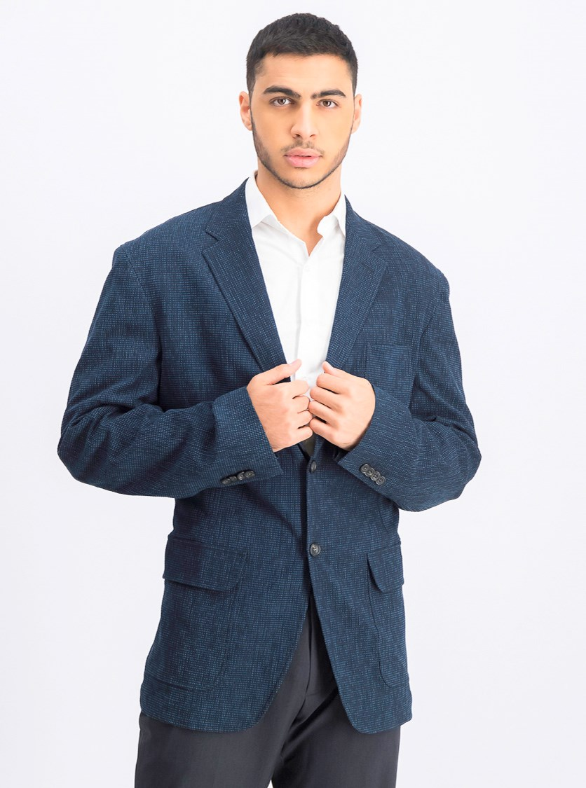 Men's Notched Long Sleeve Blazer, Navy