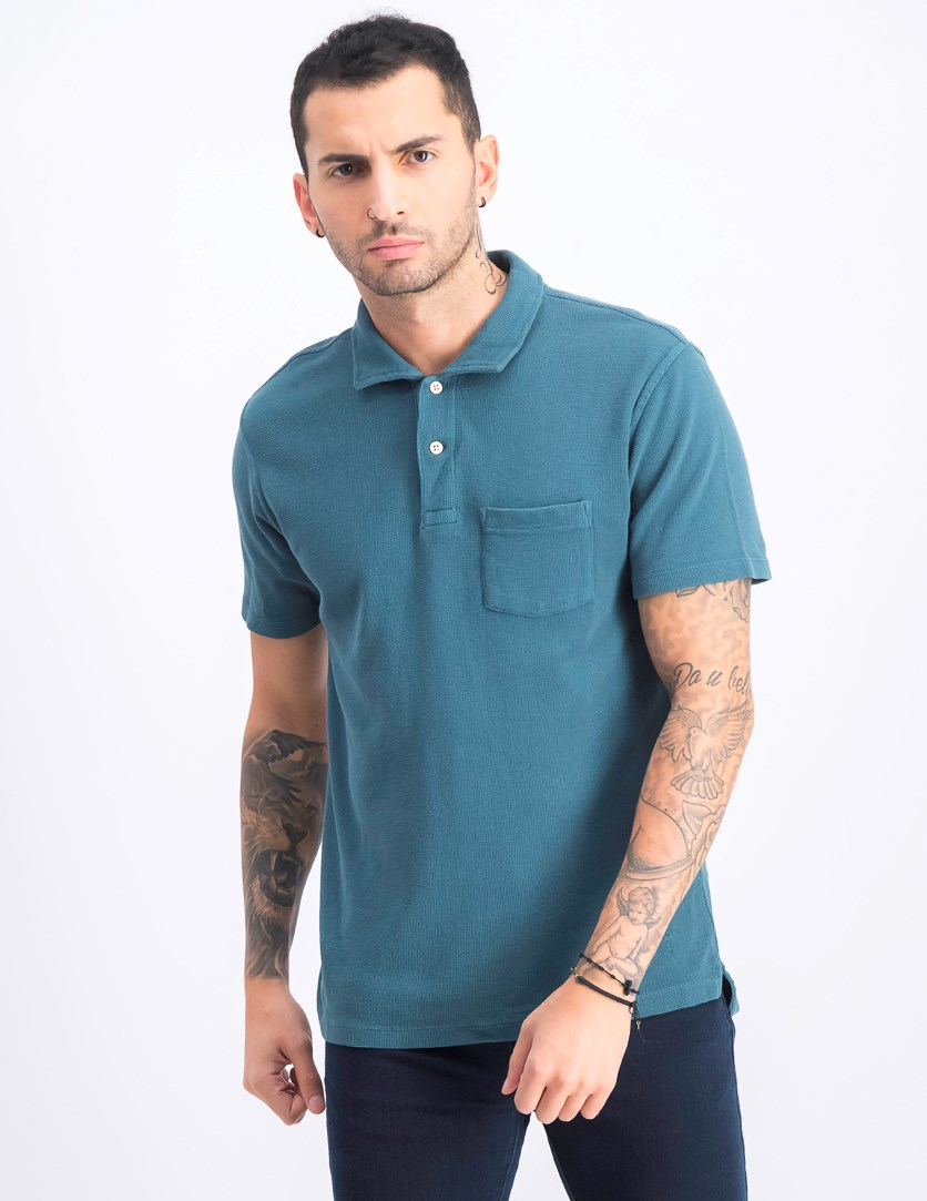 Men's Front Pocket Polo, Green