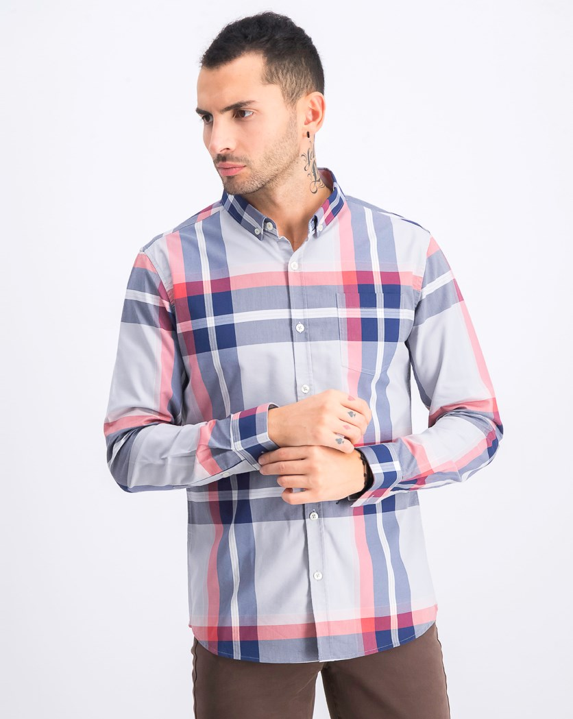 Men's Plaid Casual Shirt, Gray/Red Combo