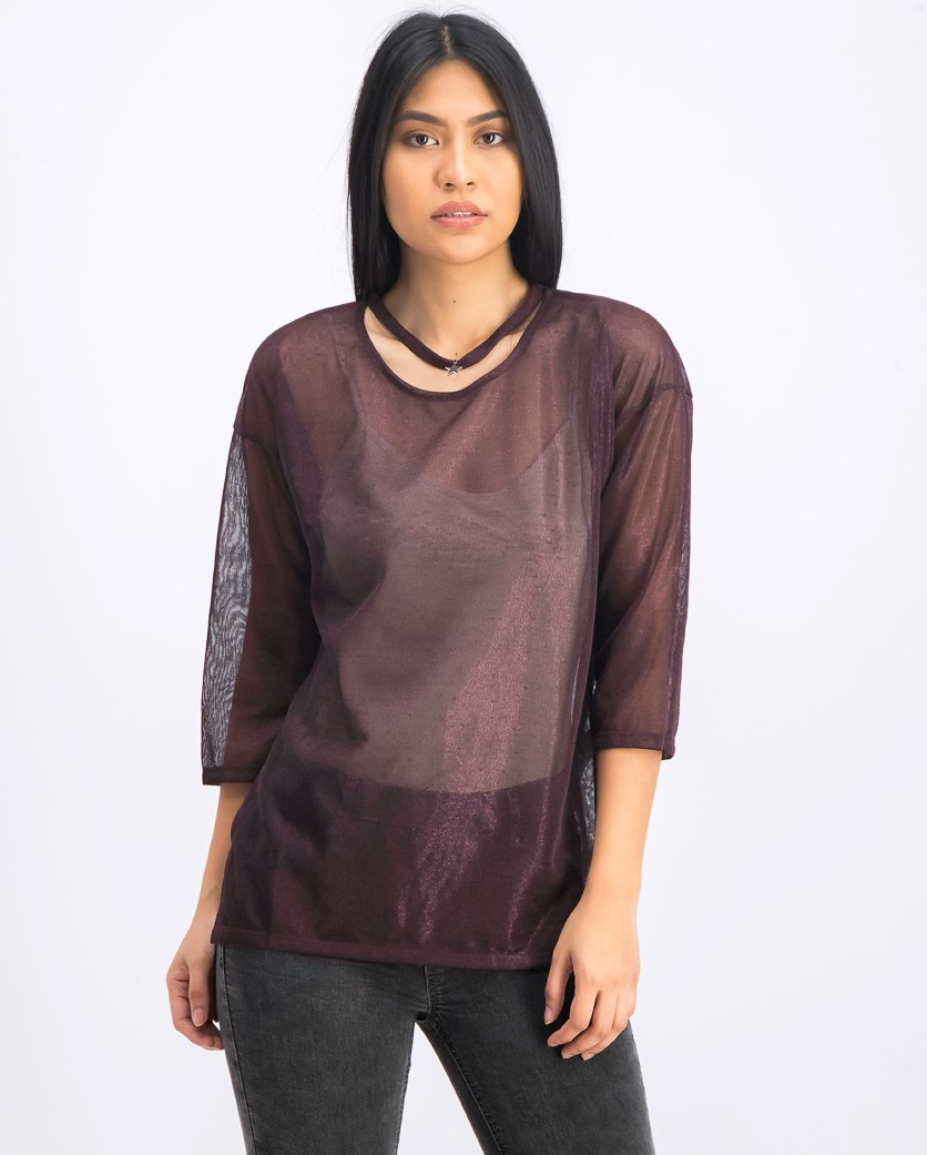 Women's Choker See Through Tops, Metallic Plum