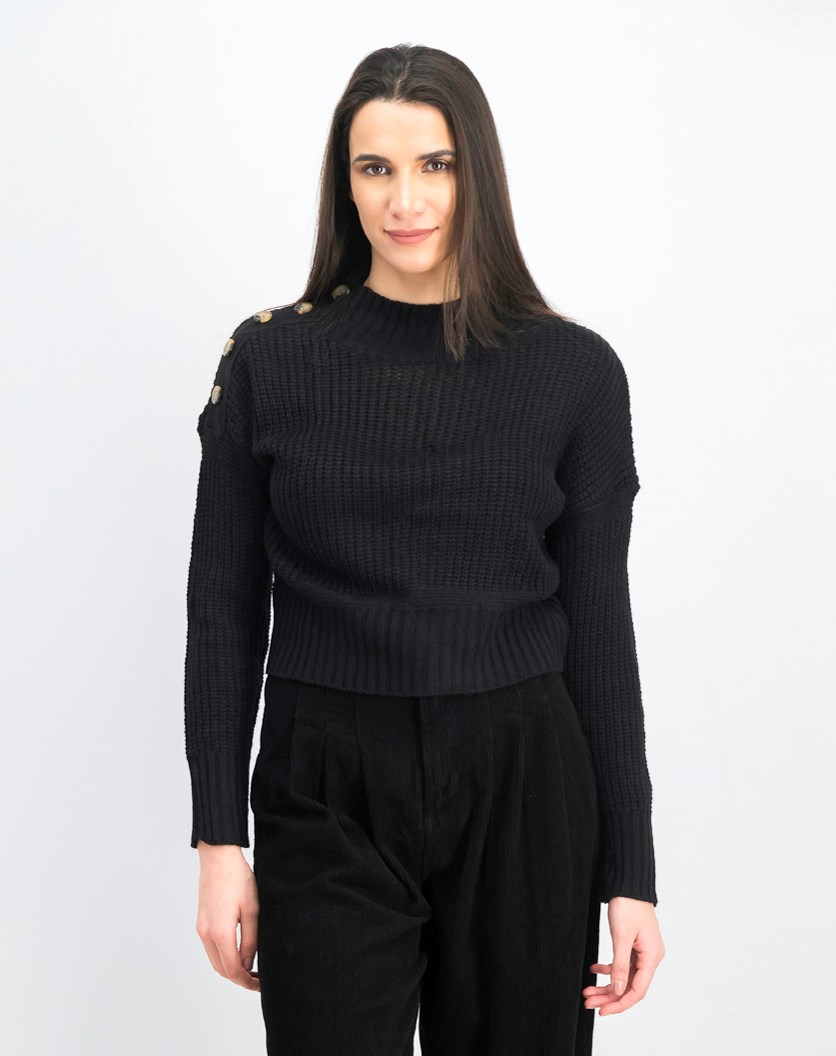 Women's Buttoned Mock Neck Sweater, Black